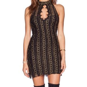 Free People Lacy Fitted Halter Dress